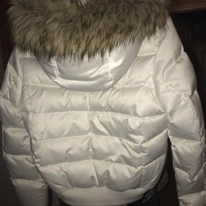 BEBE Diamond Puffer Jacket with faux fur